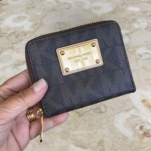 Michael Kors Compact Zip Around Monogram Wallet